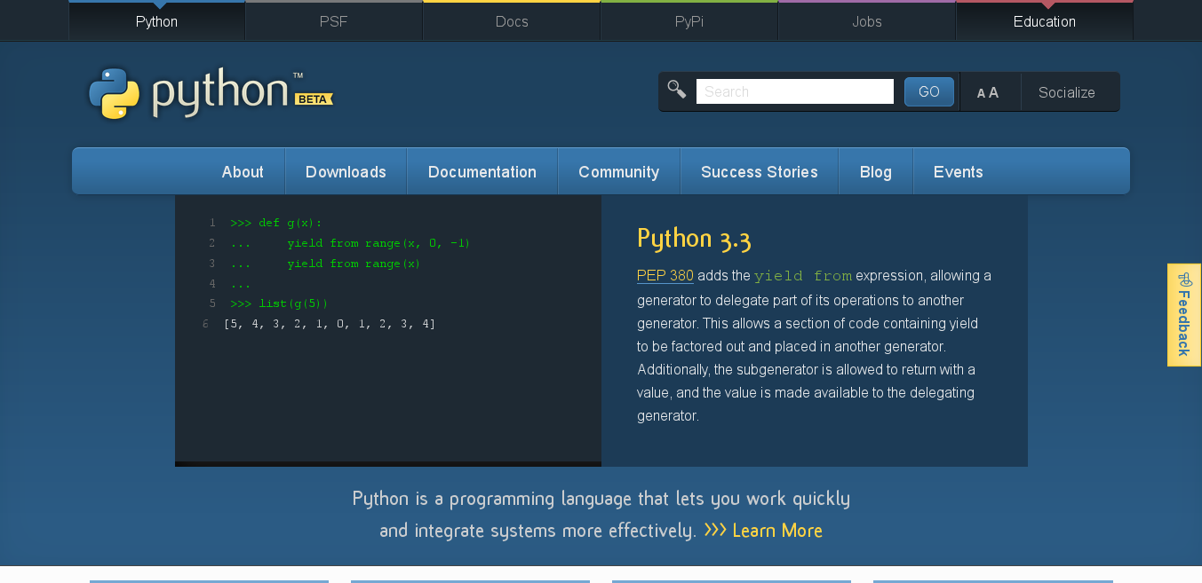 A preview of Python's website redesign